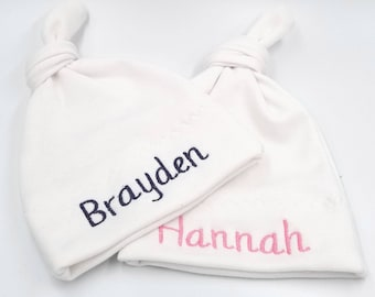 Set of 2 Monogrammed Baby Hats / Hospital hat / Baby Hat / Personalized Baby Hats / Baby Gift / Baby Shower Gift / Baby Cap / Twins