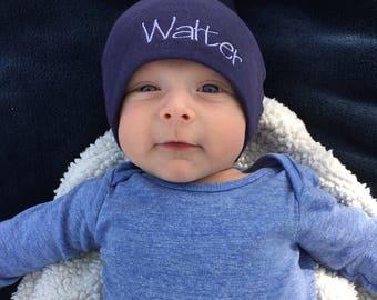 Set of Personalized baby hats / knit hat / monogram hat/ newborn hat / baby girl / baby boy / baby shower / baby gift