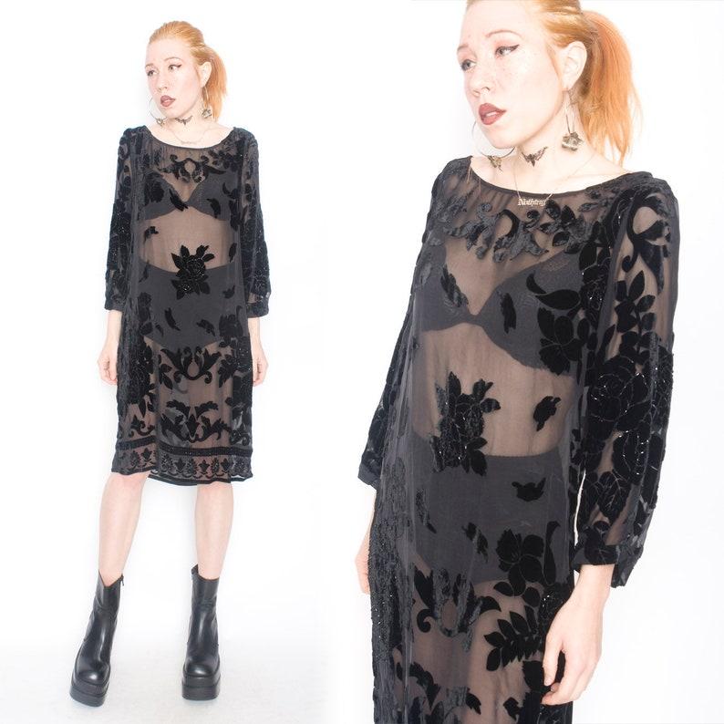 90s Does 70s Vintage Black Semi Sheer Luxe Silk Velvet Burnout Boho Hippie Tunic Dress Small