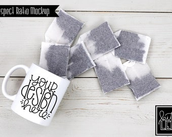 Download Free 11 oz Tea Mug Mockup with Tea Bags PSD Template