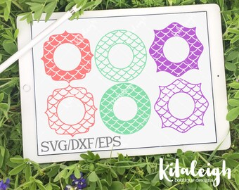 Mermaid Monogram Frames INSTANT DOWNLOAD in dxf, svg, eps for use with programs such as Silhouette Studio and Cricut Design Space