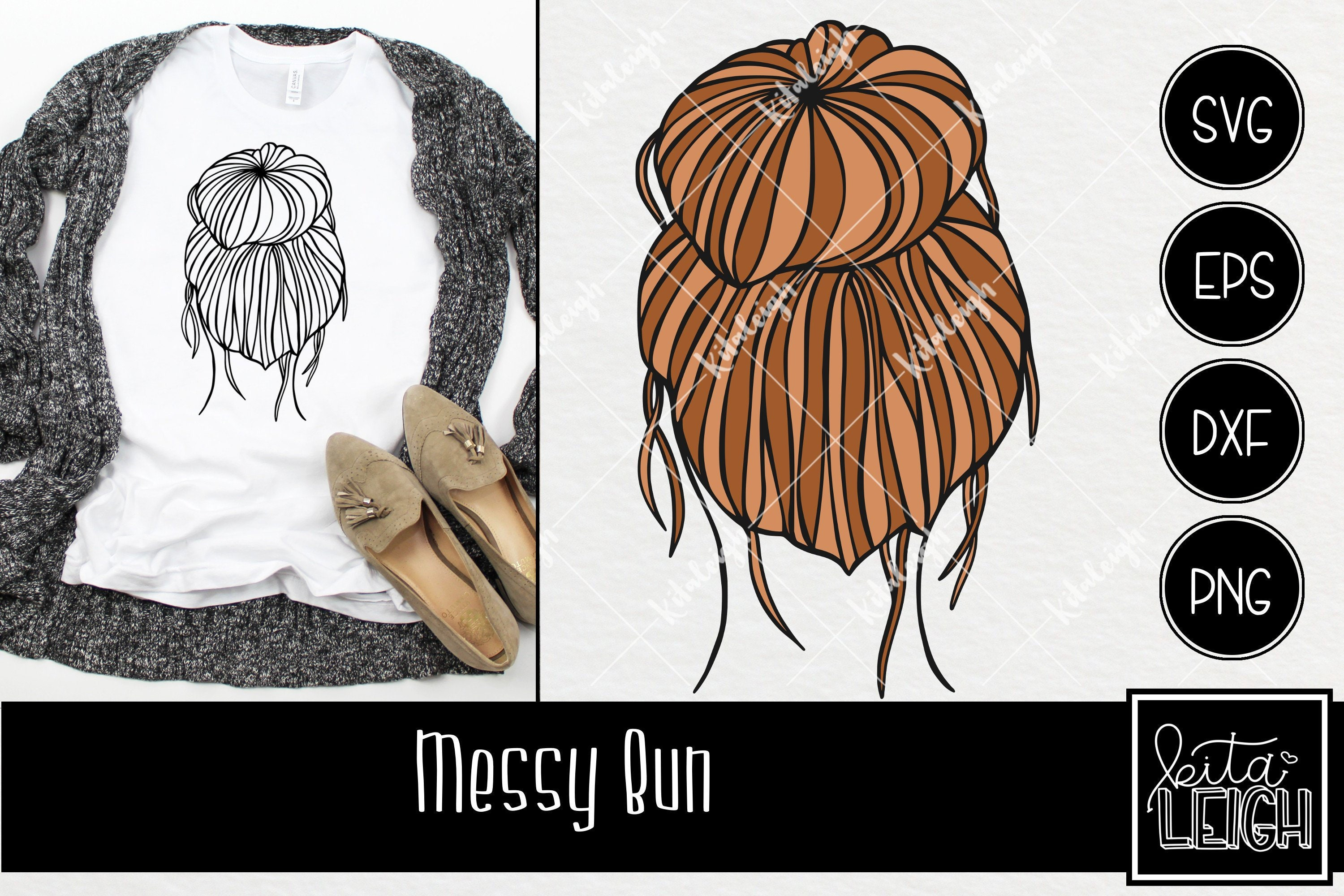 Messy Bun Instant Download In Dxf Svg Eps For Use With Etsy