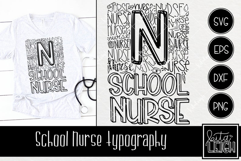 School Nurse Typography Instant Download Dxf Svg Eps Png Etsy