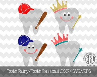 Tooth Fairy/Tooth Baseball Files INSTANT DOWNLOAD in dxf/svg/eps for use with programs such as Silhouette Studio and Cricut Design Space