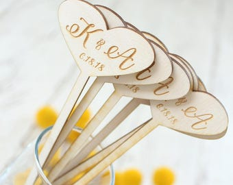Heart Stir Sticks Custom Stir Sticks Wood Stir Sticks Wedding
