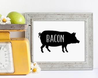 Bacon Sign | Hog Sign | Farmhouse Kitchen Sign | Farmers Market Sign | Pig Sign | Digital Download | SVG