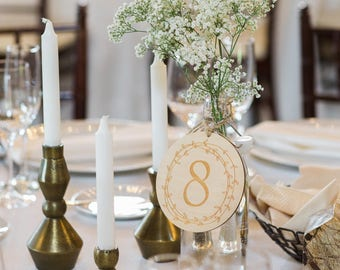 Wedding Table Number Circles | Rustic Engraved Wedding Table Numbers | Laurel Wreath Table Numbers | Wedding Table Numbers Centerpieces