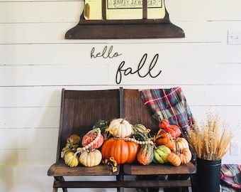 Hello Fall Sign | Gallery Wall Sign | Farmhouse Gallery Wall | Fall Home Decor | Fall Sign