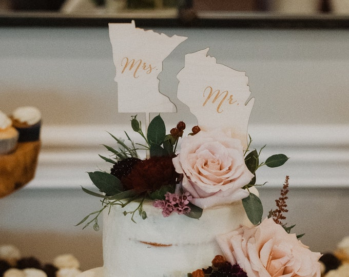 Featured listing image: Mr and Mrs State Cake Toppers | Wedding Cake Topper | Rustic Wedding Cake Topper | Free Shipping