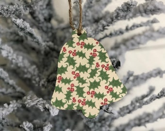 Holly and Berries Ornament | Vintage Style Ornament | Bell Ornament | Farmhouse Ornament | Farmhouse Christmas | Vintage Christmas