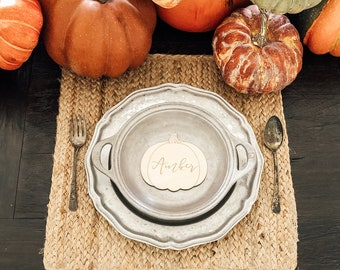 Pumpkin Placecards | Wood Place Cards | Thanksgiving Table Setting | Pumpkin Name Cards | Thanksgiving Decor