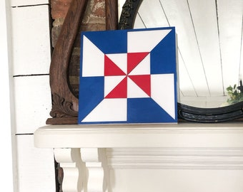 Patriotic Barn Quilt Sign | Farmhouse Barn Quilt | Barn Quilt Plaque | Summer Barn Quilt | Mantel Decor | July 4th Decor