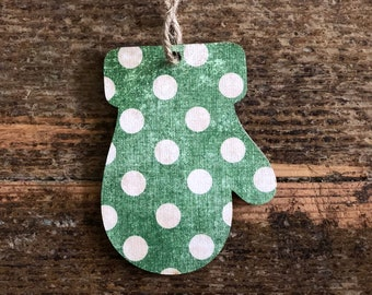 Mitten Ornament | Vintage Green Ornament | Green Polka Dot Ornament | Farmhouse Ornament | Farmhouse Christmas | Christmas
