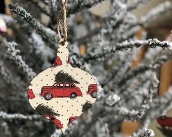 Vintage Car Ornament | Farmhouse Ornaments | Farmhouse Christmas | Vintage Style Ornament | Christmas Ornament | Wood Ornament