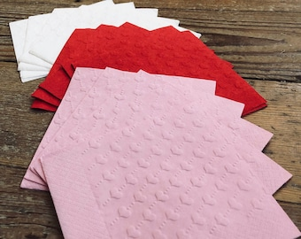 Heart Napkins | Embossed Valentines Day Napkins | Red Heart Napkins | White Heart Napkins | Pink Heart Napkins
