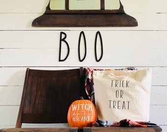 Farmhouse Halloween | Trick or Treat Tote Bag | Halloween Tote Bag | Free Shipping