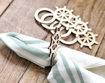 Nautical Napkin Rings | Wedding Table Setting | Captains Wheel Napkin Rings | Nautical Wedding Decor