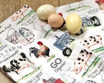 Farm Animals Kitchen Towel | Farmhouse Kitchen Towel  | Farmhous Decor |