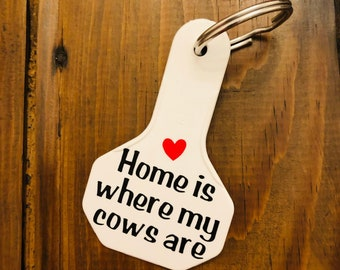 Home Is Where My Cows Are Keychain | Cow Keychain | Cow Ear Tag Keychain | Farm Keychain