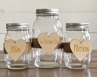 Two Become One Sand Unity Jar Set | Rustic Wedding Unity Ceremony | Mason Jar Unity Sand Ceremony | Mason Jar Wedding | Unity Sand Jar Set