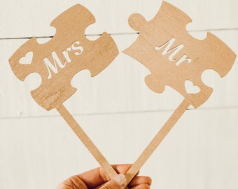 Puzzle Piece Cake Topper | Mr & Mrs Puzzle Cake Topper | Wedding Cake Topper | Rustic Cake Topper | Free Shipping