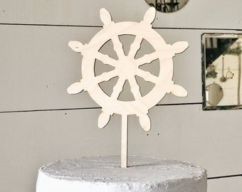 Captains Wheel Cake Topper | Nautical  Cake Topper | Wedding Cake Topper | Nautical Wedding | Free Shipping