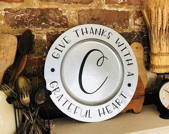 Thanksgiving Charger Plate | Metal Charger | Momogrammed Charger Plate Display | Farmhouse Thanksgiving | Free Shipping