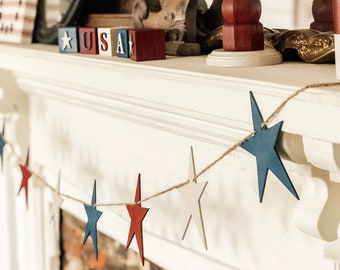 Primitive Star Banner | Farmhouse July 4th | July 4th Banner | Summer Home Decor | Patriotic Banner | July 4th | Independence Day Banner