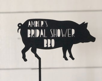 Bridal Shower BBQ | Pig Cake Topper | Bridal Shower | Cake Topper | Wood Cake Topper | Free Shipping