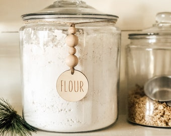 Jar Label | Beaded Jar Tag | Jar Tag | Kitchen Labels | Pantry Organization | Farmhouse Kitchen | Open Shelving
