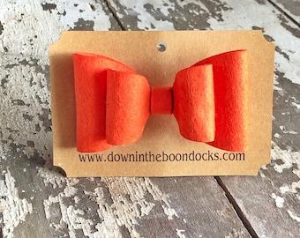 Orange Hair Bow | Felt Hair Clip | Stocking Stuffer | Hair Bow | Alligator Hair Clip