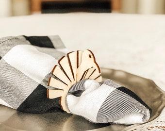 Turkey Napkin Rings | Thanksgiving Table Setting | Natural Wood Napkin Rings | Thanksgiving Table Setting