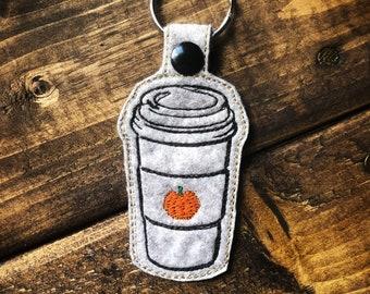 Pumpkin Spice Latte Keychain | Latte Cup Keychain | Pumpkin Spice | Wool Felt | Luggage Tag | Fall