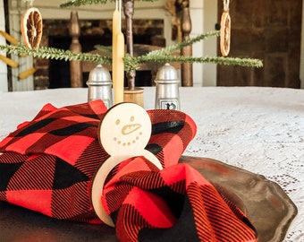 Snowman Napkin Rings | Christmas Napkin Rings | Wood Napkin Rings | Farmhouse Christmas