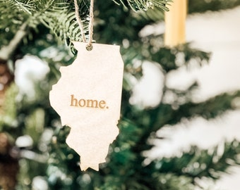 Illinois Home Ornament | Christmas Ornament | Illinois State | State Ornament