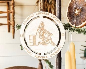 Barrel Racing Ornament | 3 Barrels 2 Hearts 1 Dream | Horse Ornament | Horse Lover Gift