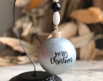 Merry Christmas Ornament | Farmhouse Christmas Ornaments | Shatterproof Ornament | Farmhouse Style