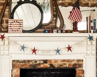 Star Banner | Farmhouse July 4th | July 4th Banner | Summer Home Decor | Patriotic Banner | July 4th | Independence Day Banner