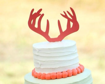 Antler Cake Topper | Rustic Wedding Cake Topper | Buck and Doe Wedding | Country Wedding | Wedding Cake Topper | Free Shipping