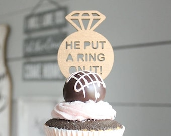 He Put A Ring On It Cupcake Topper | Donut Table | Bridal Shower Diamond Cupcake Topper