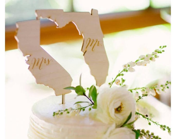 Featured listing image: Mr and Mrs State Cake Toppers Wedding Cake Topper Rustic Wedding Cake #DownInTheBoondocks
