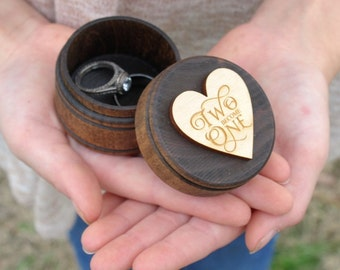 Two Become One Ring Box | Keepsake Ring Box | Dark Walnut Rustic Wedding Ring Box | Free Shipping