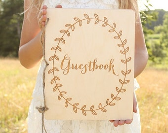 Guestbook | Rustic Wood Guestbook | Wedding Guest Book | Rustic Baby Shower Guestbook | Bridal Shower Guestbook | Laurel Wreath Guestbook