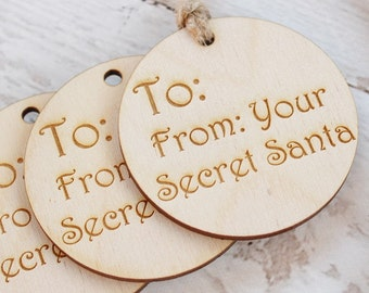 Secret Santa Gift Tag | Christmas Gift Tag | Wood Gift Tag | Engraved Gift Tag