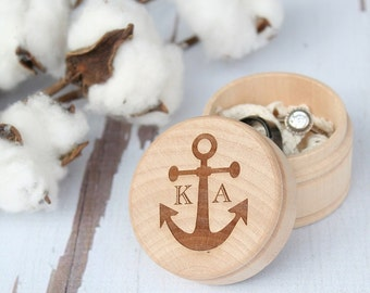 Anchor Ring Box Monogram Ring Box Beach Wedding Ring Box Ring Bearer Ring Box Keepsake Ring Box Photo Prop Ring Box