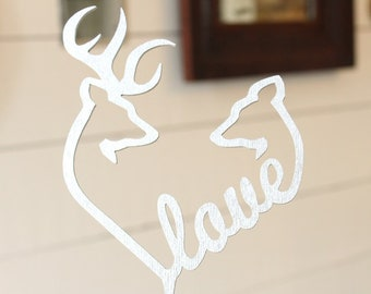 Love Buck and Doe Cake Topper | Love Cake Topper | Free Shipping