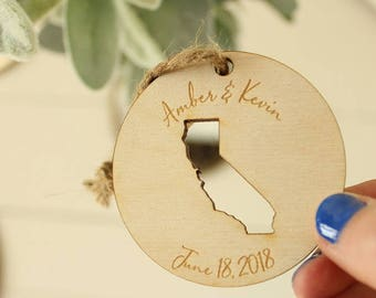 California Wedding Favor Ornaments | State Ornament | California Ornament | Engraved Ornaments | Wedding Favors