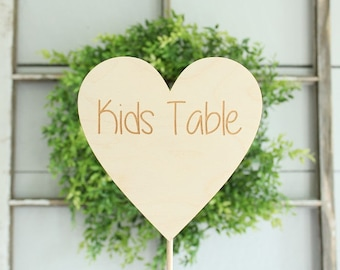 Kids Table Sign | Rustic Wedding Sign | Wedding Kids Table Heart Sign | Free Shipping
