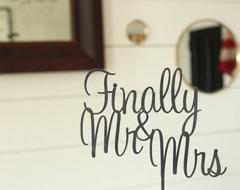 Finally Mr & Mrs Cake Topper | Wedding Cake Topper | Free Shipping