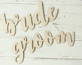 Bride Sign | Groom Sign | Chair Sign Set | Wedding Chair Signs | Wedding Photo Prop